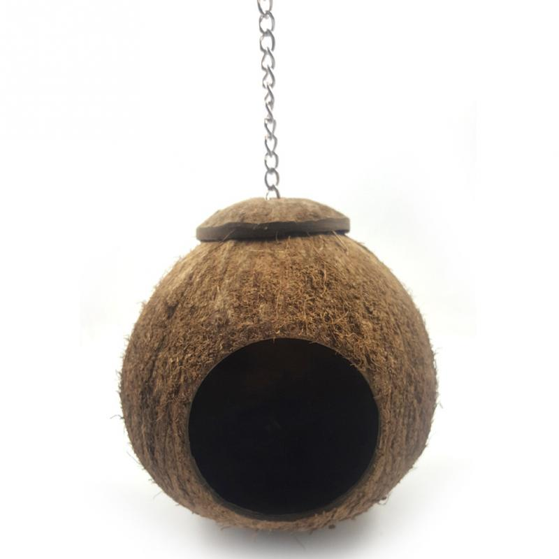 Bird Supplies Natural Coconut Shell Bird Nest House Hut Cage Feeder Pet Parrot With Hanging Lanyard Parakeet Supplies
