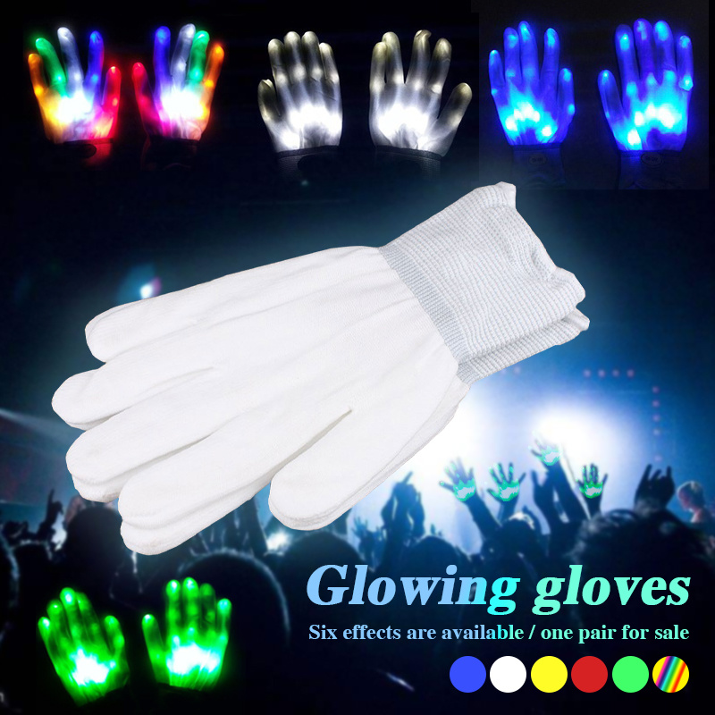 1 Pair Unique LED Luminous Gloves Lighting Flashing Finger Glow Flash Colorful Skeleton Gloves Dancing Club Props Party Supplies