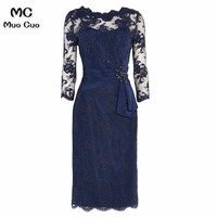 2018 Elegant Navy Blue Mother of the Bride Dresses with Lace 3/4 Sleeves Scoop mother of the bride dresses for weddings