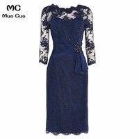 2018 Elegant Navy Blue Mother of the Bride Dresses with Lace 3/4 Sleeves Scoop mother of the bride dresses for weddings