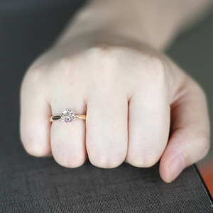 Image 4 - Transgems Solitaire Anello di Fidanzamento 14 k Oro Giallo 1 carat Diametro 6.5mm F Colore Moissanite Anello di Fidanzamento Per Le Donne da sposa