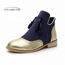 Genuine cow Leather women Ankle chelsea winter Boots Comfortable quality soft Shoes Brand Designer Handmade gold blue with fur women winter boots genuine cow leather ankle comfortable quality soft shoes brand designer handmade winter boots black with fur