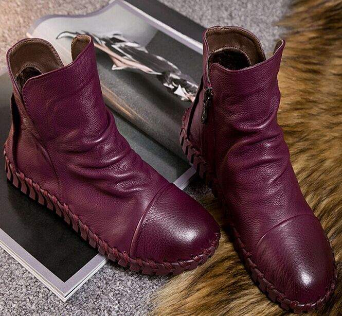Genuine Leather Short Boots Plus Velet Winter Girls Shoes Handmade Sewing Soft Outsole Lazy Shoes Maternity Shoes Flat Boots