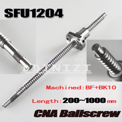 Free shipping SFU1204 rolled ball screw C7 with 1204 flange single ball nut for BK/BF10 end machined CNC parts RM1204