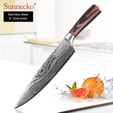 SUNNECKO 8 inches Chef Knife Stainless Steel Sanding Blade Laser Pattern Kitchen Knives Pakka Wood Handle Sharp Cutter Tools