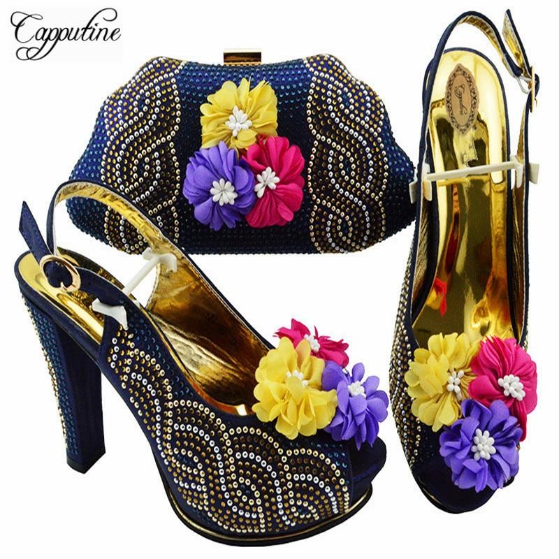 Capputine 2018 nigerii lato kobieta pompy buty i torba zestaw afrykański styl wysokie obcasy buty i pasująca torba zestaw dla partii JZS 02 w Buty damskie na słupku od Buty na  Grupa 2