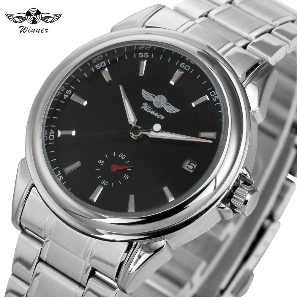 WINNER Brand Business Mens Automatic Watches Silver Stainless Steel Band Mechanical Wrist Watches for Men Calendar Date +BOX