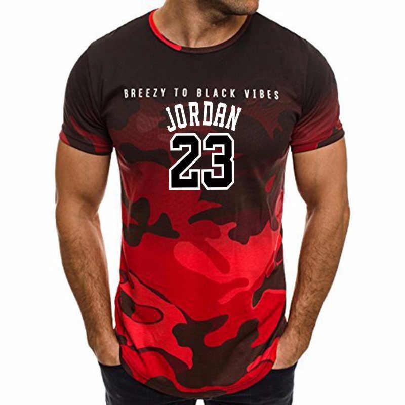 2019 nowe gorące lato Jordan 23 list drukuj męska kamuflaż Fitness koszulka z krótkim rękawem Top sport T-Shirt.