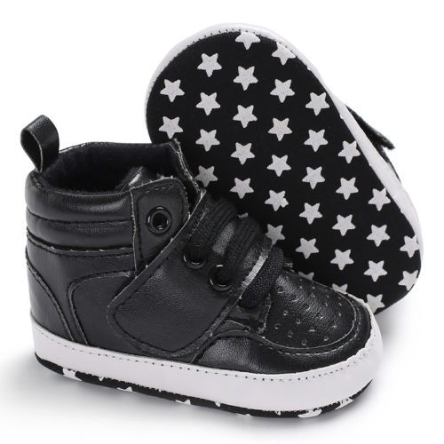 Toddler Shoes Baby Boy Girl PU Ankle Boots Crib Shoes Anti-slip Sneaker 0-18M