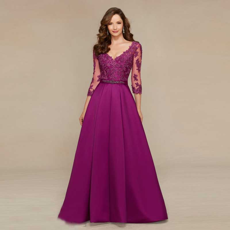 Gorgeous Women A-line V-neck Custom Made New Arrival Lace with Beading Satin 21222619ae0b