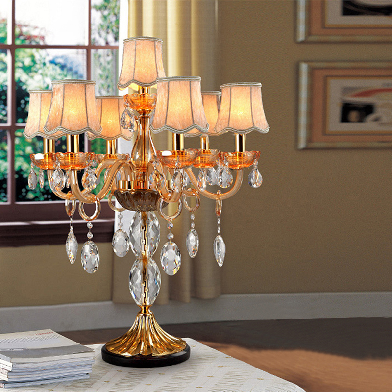 bedside table lamp fabric cover crystal table lamp shades desk lightled table light bedroom candelabra classic cover desk