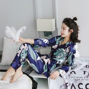 Image 2 - Женский пижамный комплект с цветочным принтом, атласная пижама с длинными рукавами, пижамный комплект на весну и лето