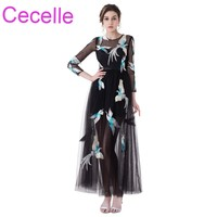 Black A Line Short Sheer Cocktail Dresses 2018 With 3 4 Sleeves Bird Embroidery Informal Prom