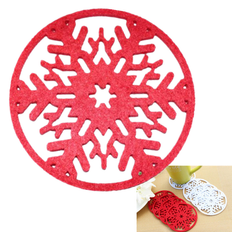 10pcs Xmas Coaster Ornament Decoration Snowflake Insulation