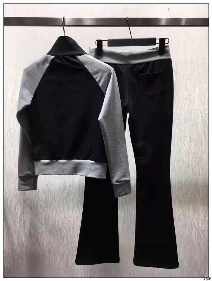 2017 en najaar damesmode kleur blok jas en flare broek twee pakken set-in Sets voor dames van Dames Kleding op  Groep 2