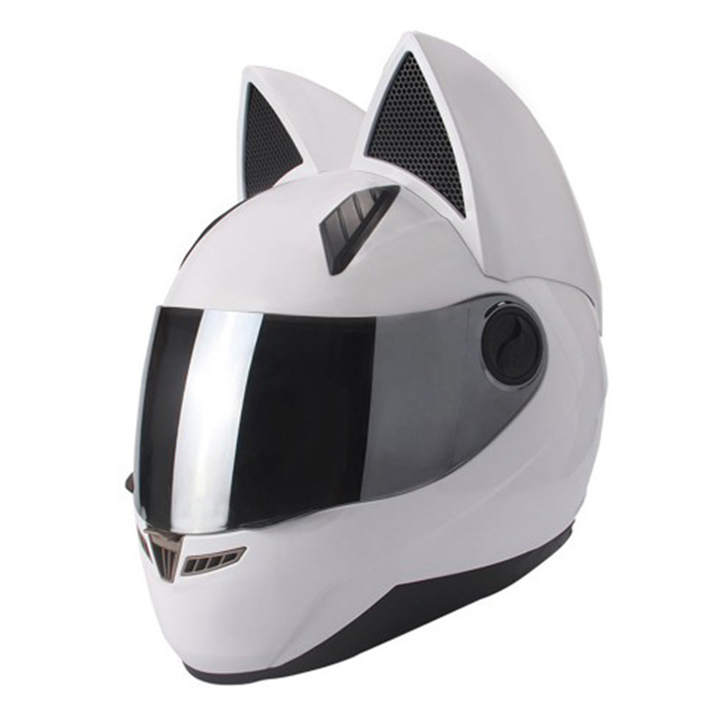 Lovely cat ears automobile race antifog full face helmet capacete moto casco motorcycle helmet full face mask white helmet nolan n86 rapid flat black white full face motorcycle helmet