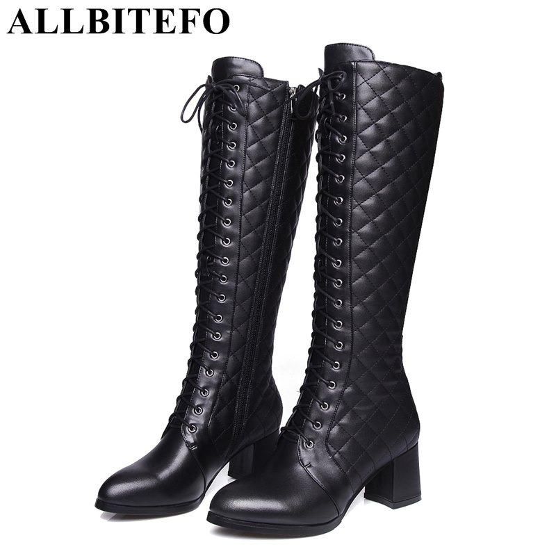 ALLBITEFO thick heel genuine leather+pu lace-up women boots brand medium heel women knee high boots winter boots plus size allbitefo over the knee boots nubuck leather medium heel women boots 4 colors winter boots thick heel snow boots size 33 43