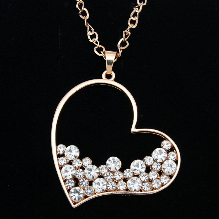Buy gold rhinestone heart pendant long for Cute jewelry for girlfriend