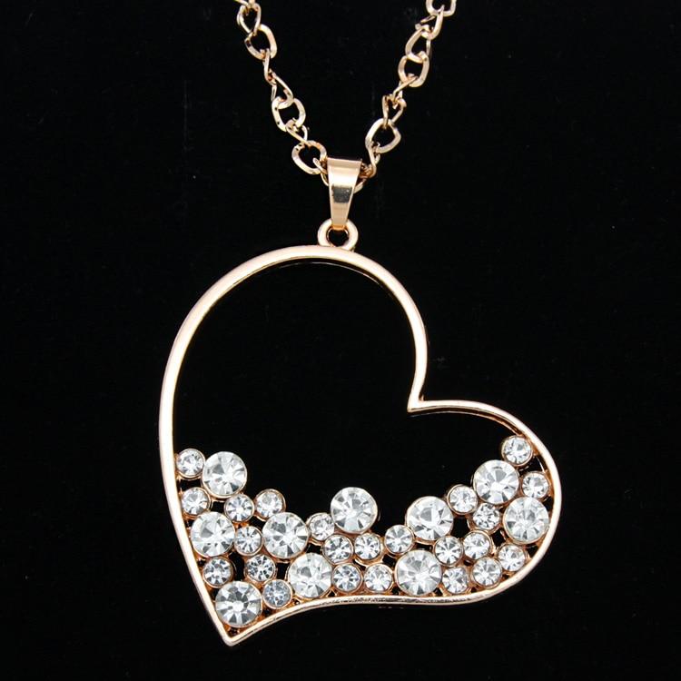 Famous Gold Rhinestone Heart Pendant Long Chain Necklace Pendants for  EK87