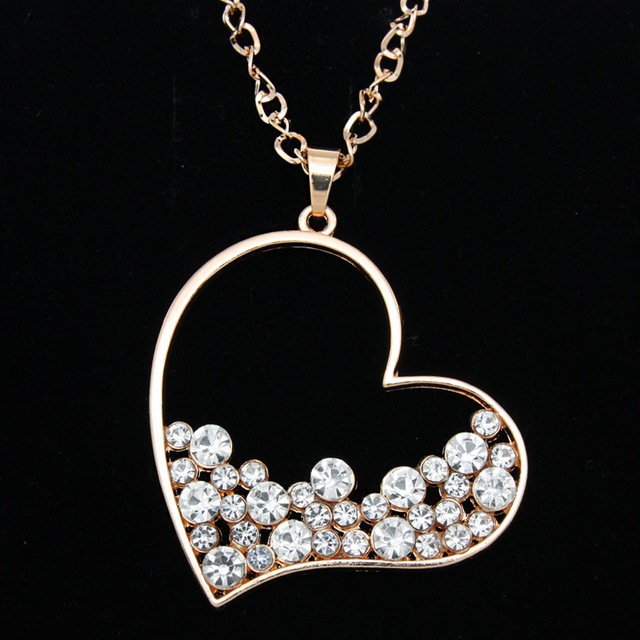 Aliexpress.com : Buy Gold Rhinestone Heart Pendant Long ...