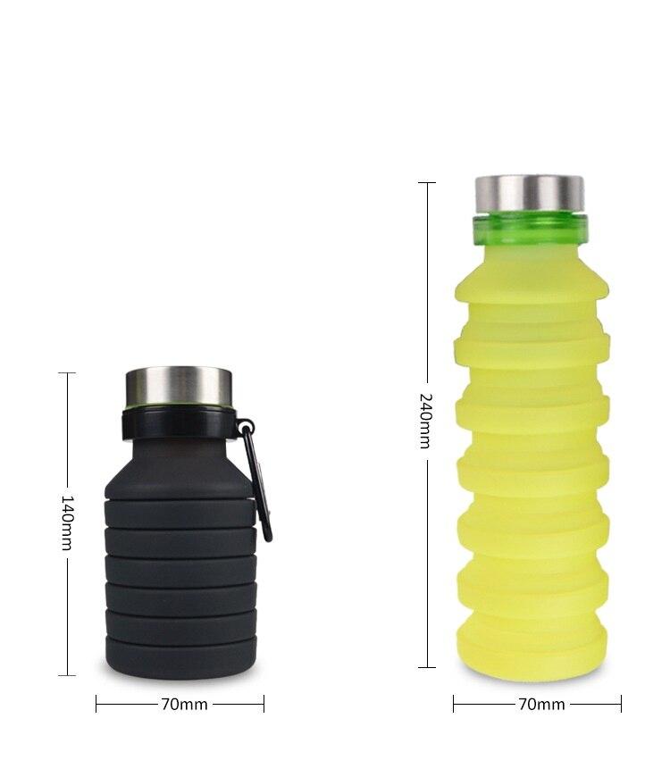 50 unids/lote 550 ML de silicona portátil botella de agua plegable retráctil de escalada al aire libre de viaje plegable deportes hervidor de agua-in Botellas de agua from Hogar y Mascotas    1