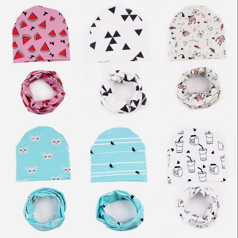 2Pcs 2017 Newborn Photography Props Kids Girls Hat with Scarf Baby Hat with Scarf Winter Set with Scarf Warm Winter Onesize