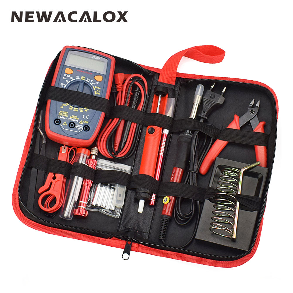 NEWACALOX 60W EU/US Multifunctional Electric Soldering Iron Kit Adjustable Temperature Repair Welding Tool Digital Multimeter newacalox 60w eu plug 220v adjustable temperature soldering iron kit rework welding tool set with power switch rosin tool box