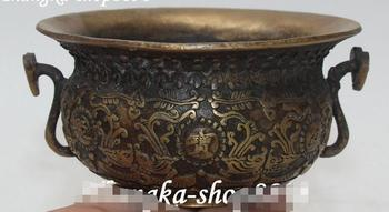Old Chinese Bronze Fish Fishes Animal Wealth Money Ruyi Treasure Bowl Cornucopia