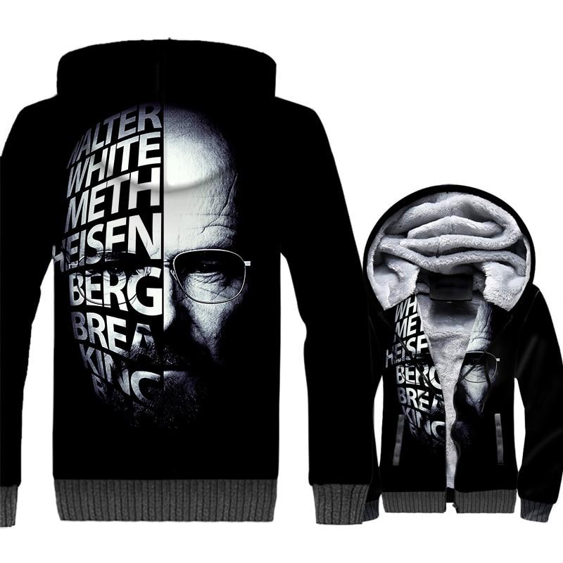 Breaking Bad Jackets Men Hesisenberg Hoodie Walter White Sweatshirt Winter Thick Fleece 3D Print Coat Black TV Show Sportswear