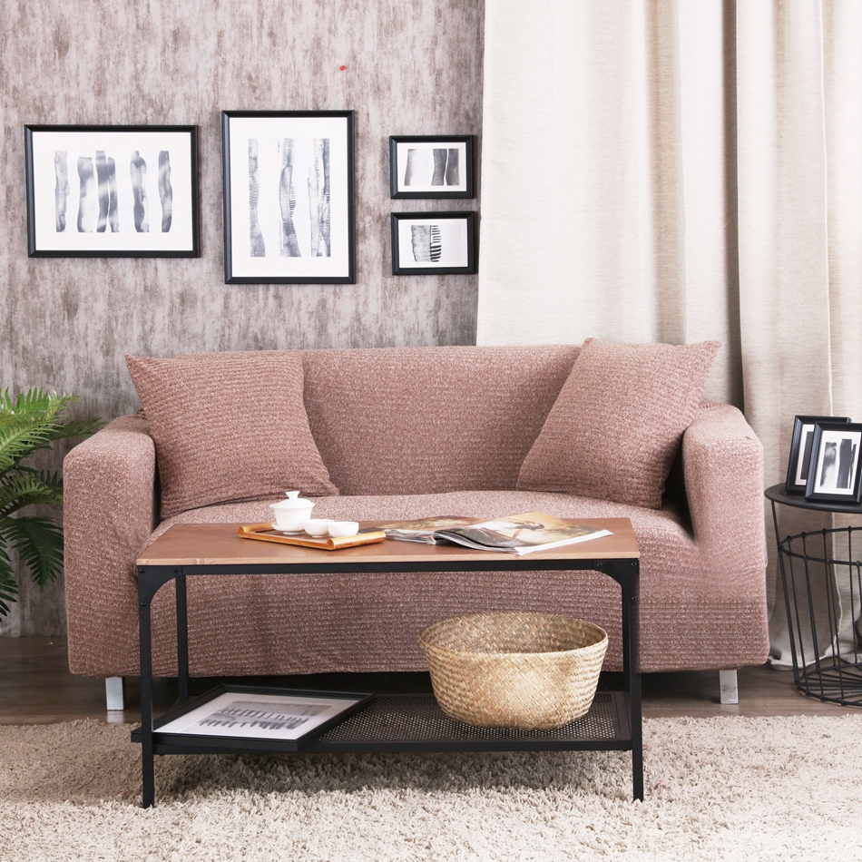 Brown knitted couch sofa covers 100% polyester solid color