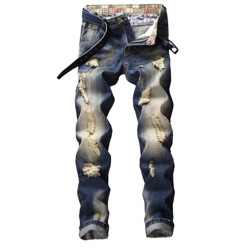 Mens ripped jeans summer autumn fashion hip hop style slim straight distressed hole scratched men denim trousers plus size