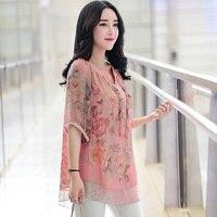 4XL 5XL קיץ חולצת שיפון בגדי נשים בתוספת גודל חדש ארוך צמרות רופפות נשי מזדמן שרוול קצר ראפלס חולצות אלגנטי