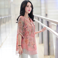 Mother Clothing Spring And Summer Women S Quinquagenarian Plus Size Print Chiffon Shirt Female Medium Long