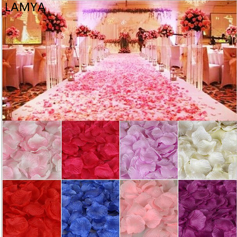 LAMYA 01-18 Colors 500pcs / lot 5*5cm silk rose petals for Wedding Decoration Romantic Artificial Rose Flower Petals 38 Colors