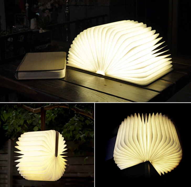 Origami Foldable Book Portable LED Lamp,Flip Folding Book Night Light,Creative Wooden USB rechargeable Book light Decorate Arts