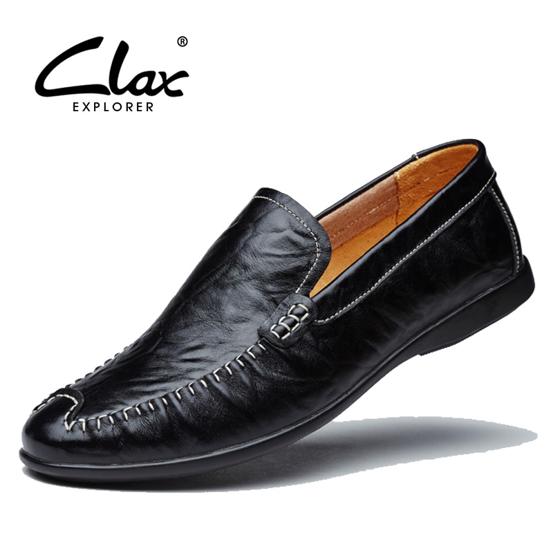 Clax Men Leather Casual Shoes 2017 Spring Autumn Genuine Leather Loafers for Male Summer Breathable Flat Footwear Hollow Hole the spring and summer men casual shoes men leather lace shoes soled breathable sneaker lightweight british black shoes men