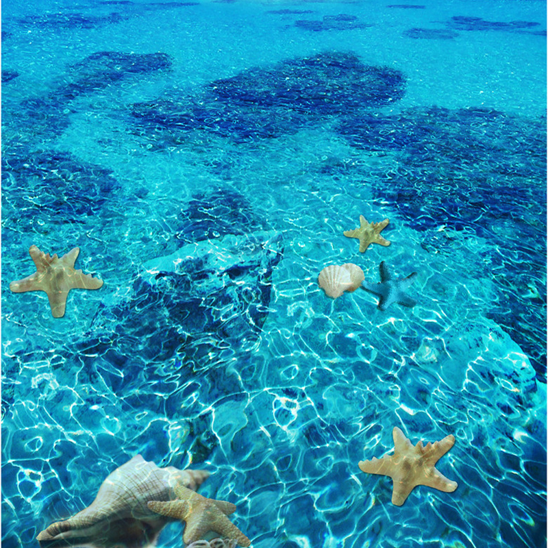 3D Stereo Sea Starfish Flooring Wallpaper Bedroom Bathroom PVC Self Adhesive Waterproof Wear Floor Tile Mural Papel De Parede In Wallpapers From Home