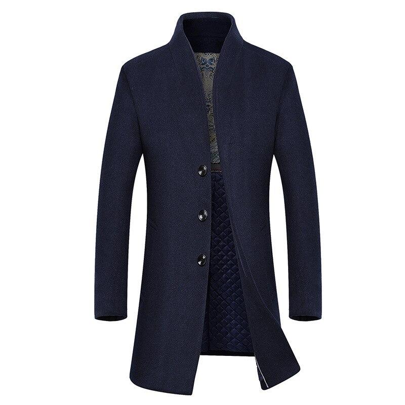 Fashion men's woolen coats middle aged men long slim wool coat outerwear 2018 new arrival wool trench breaker