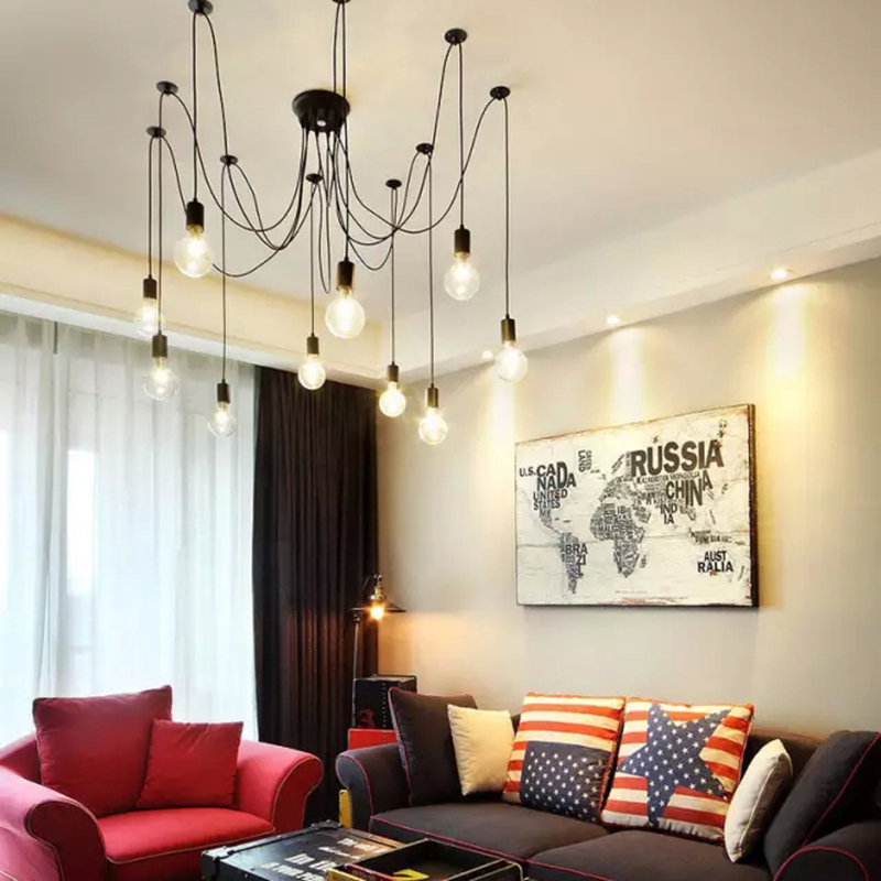Modern Nordic Retro Edison Chandelier Lighting Vintage Loft Antique Adjustable DIY E27 Spider Pendant Hanging Lamp Home Lighting nordic vintage chandelier lamp pendant lamps e27 e26 edison creative loft art decorative chandelier light chandeliers ceiling