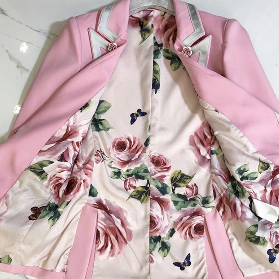 Qualité L'automne Boutons Longues Haute De Mode Imprimer Fleurs Femmes Seqinyy Manches Début Veste 2018 Entaillé Blazer Rose Doublure PU1q0