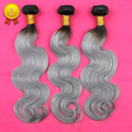 New 3 Pcs 7A Human Virgin Ombre Brazilian Hair Body Wave Grey Hair Weave Platinum Silver Gray Ombre Hair Extensions 3 Bundles