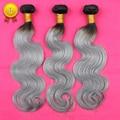 Nuevo 3 Unids 7A Ombre Onda Del Cuerpo Del Pelo Brasileño Virginal Humano gris Platino Plata Gris Ombre Hair Extensions 3 Bundles Armadura Del Pelo
