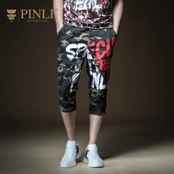 وهمية مصمم الملابس محدودة Pinli الصيف 2019 جديد الرجال الديكور الجسم الطباعة عمال الجينز سبعة السراويل B192916608