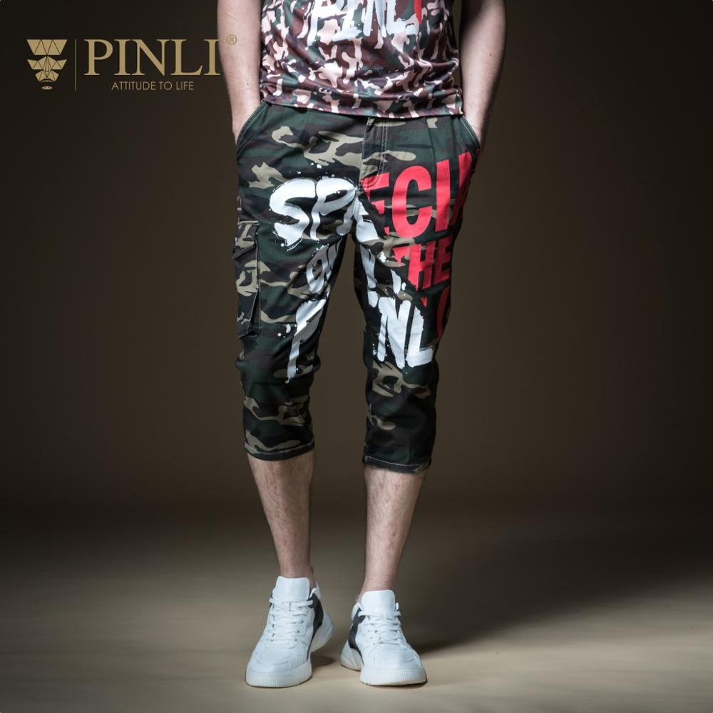 Fake Designer Clothes Limited Pinli Summer 2019 New Men's Decoration Body Printing Workwear Jeans Seven-minute Pants B192916608
