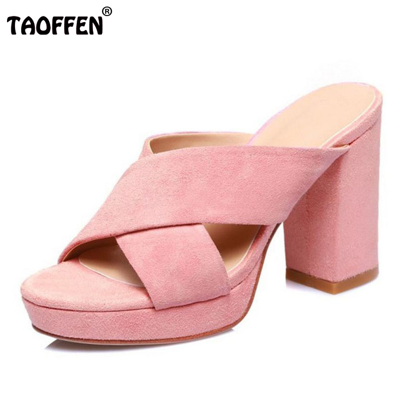 TAOFFEN Fashion Women Genuine Leather High Heel Sandals Platform Peep Toe Thick Heel Slipper Women Summer Sandals Size 34-39 genuine leather chunky heel gladiator ankle wrap women summer sandals 2015 new lady fashion peep toe shoes size 34 39 sxq0921