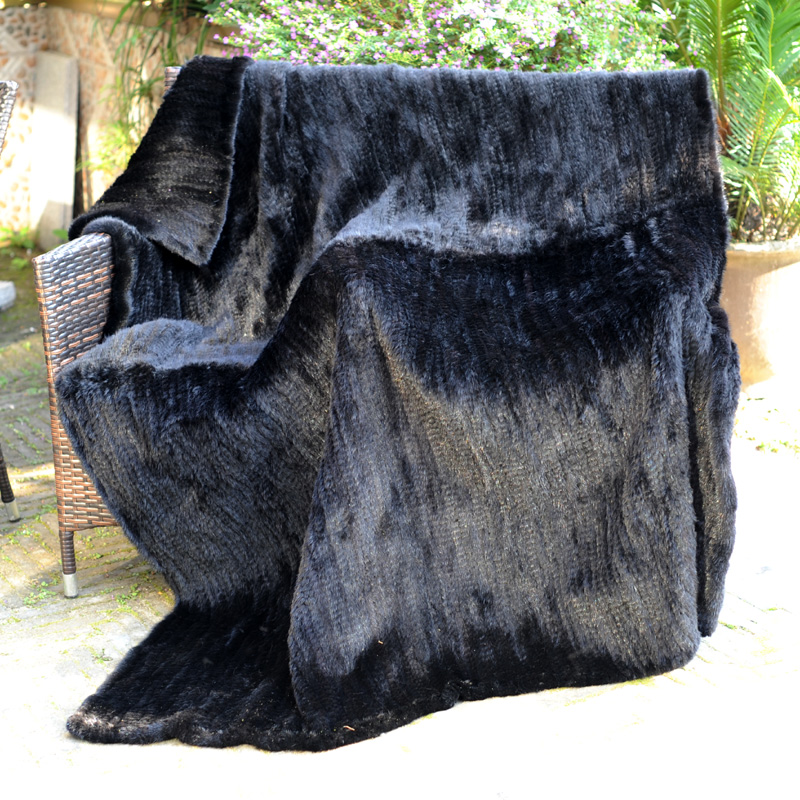 CX D 40A Black Knitted Real Mink Fur Fashion Winter Home Blanket Classy Real Mink Throw Blanket