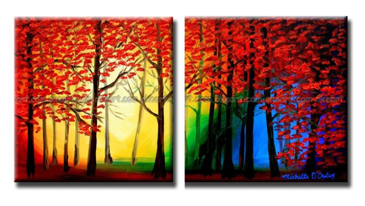 100 Hand Painted Color In The Forest Springs Sweetheart Oil Paintings Famous Artists Beautiful Life Painting Free Shipping Calligraphy From