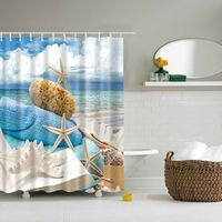 1pcs Ocean Decor Collection Starfish Seascape Sea Beach Picture Print Bathroom Set Fabric Shower Curtain With