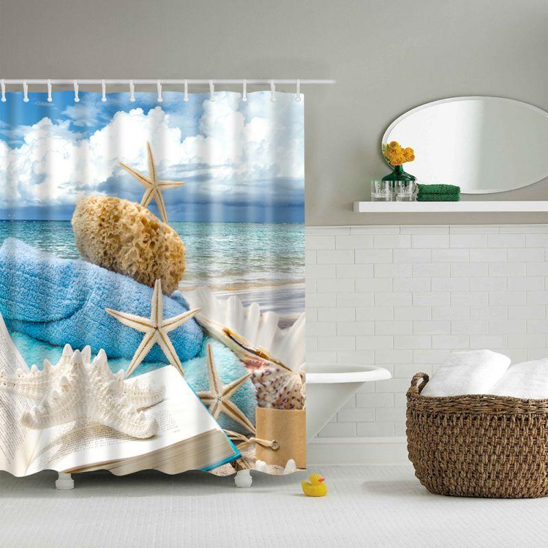 1pcs Ocean Decor Collection Seascape Sea Beach Picture Print Bathroom Set Fabric Shower Curtain with Hooks Hot