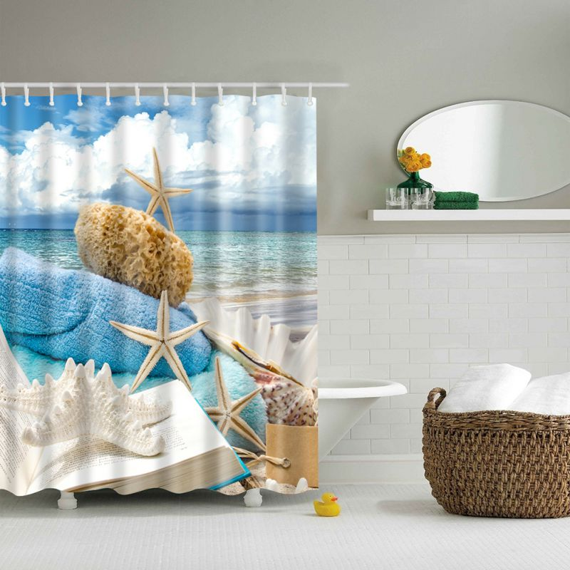 1pcs High Quality Ocean Decor Collection Starfish Seascape Sea Beach Picture Print Bathroom Set Fabric Shower Curtain With Hooks